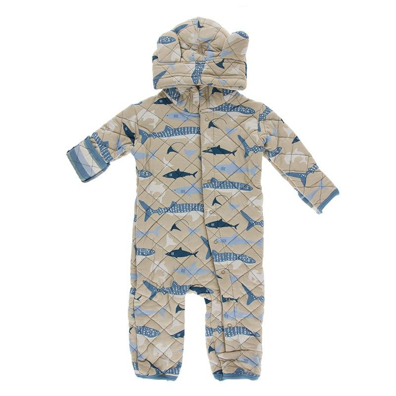 Kickee Pants Kickee Pants Oceanography Quilted Hoodie Coverall w/ Sherpa-Lined Hood