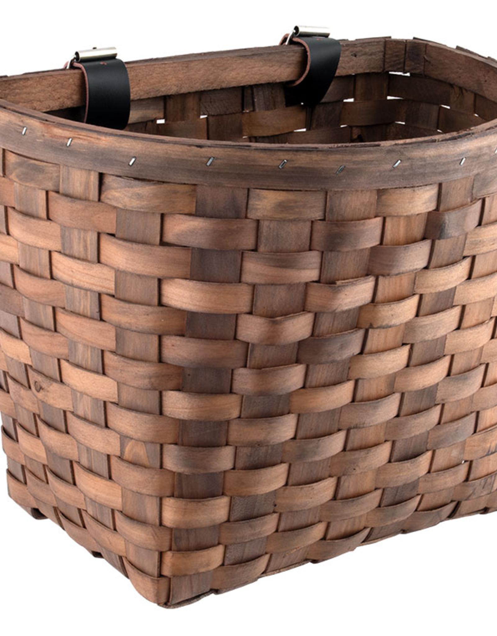 J & B Importers Sunlite Wood Woven Basket Beech Dark Brown