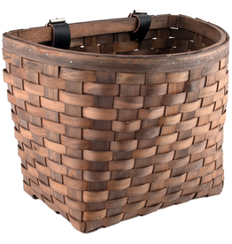 J & B Importers Sunlite Wood Woven Basket Beech Dark Brown