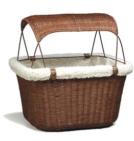 Solvit Solvit Pet Wicker Basket Brown w/ Sun Shade