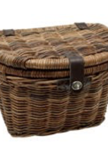 Electra Brown Rattan Woven Basket with Lid