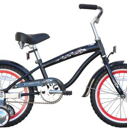 "Firmstrong Bruiser Mini 16"", red rims, Kids', Black"