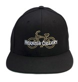 Hermosa Cyclery Hermosa Cyclery - Bike Logo, Structured Mid-Profile Black Hat - The Classic