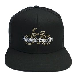 Hermosa Cyclery Hermosa Cyclery - Bike Logo, Structured High-Profile Black Hat - Trucker/Mesh Style 487