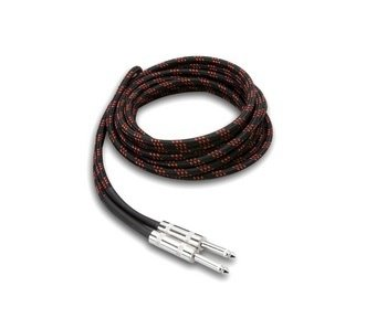 Hosa Guitar Cable, Cloth, Black/Red, 18ft