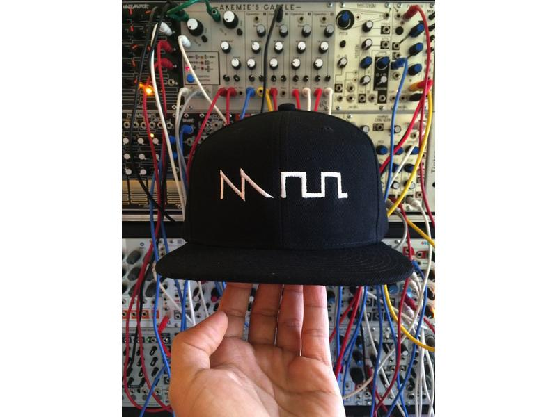 Acid Waveform Snapback Hat, Black/White Front Embroidery