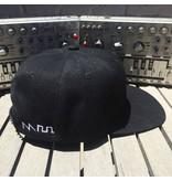 Acid Waveform Snapback Hat, Black/White Side Embroidery