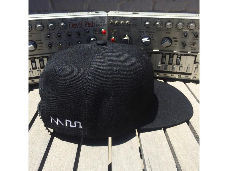 Acid Waveform Snapback Hat, Black/White Side Embroidery