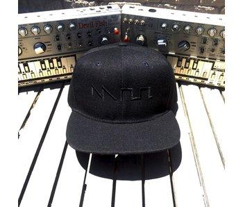 Acid Waveform Snapback Hat, Black/Black Front Embroidery