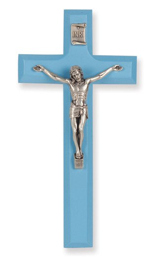 """7"""" BLUE WOOD CROSS WITH ANTIQUE SILVER PLATED CORPUS"""