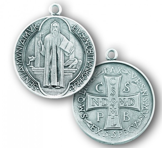 """7/8"""" Sterling Silver St. Benedict Medal with 24"""" Chain"""