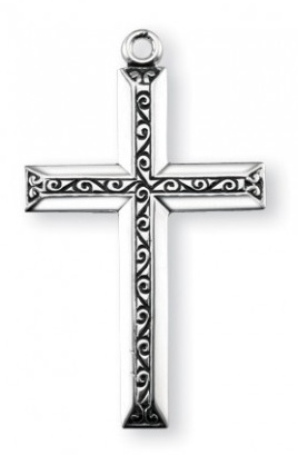 "1 1/4"" Sterling Silver Cross with Black Enamel, 20"" Chain"