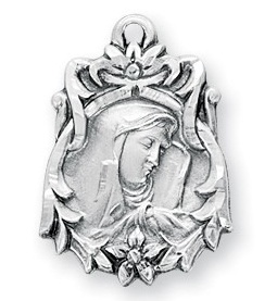 "13/16"" Sterling Silver Our Lady of Sorrows Medal with an 18"" Chain"