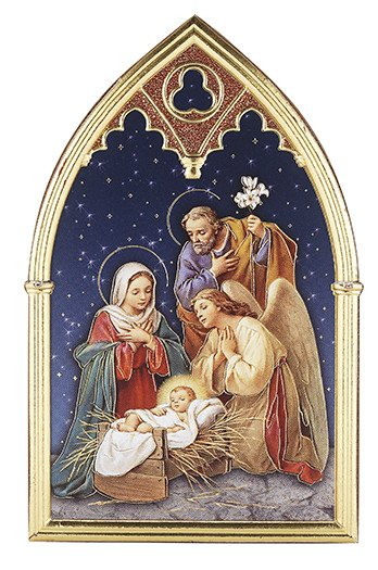 CHRISTMAS PLAQUE WITH NATIVITY SCENE AND ANGEL