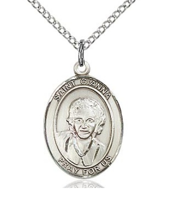"""Sterling Silver St Gianna Molla (3/4"""" x 1/2"""") on 18"""" chain"""