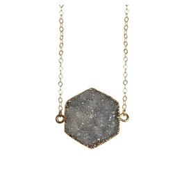 Strut Jewelry Strut-Druzy Quartz Hexagon Necklace-14K GF