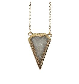 Strut Jewelry Strut-Druzy Shield Necklace-14K GF