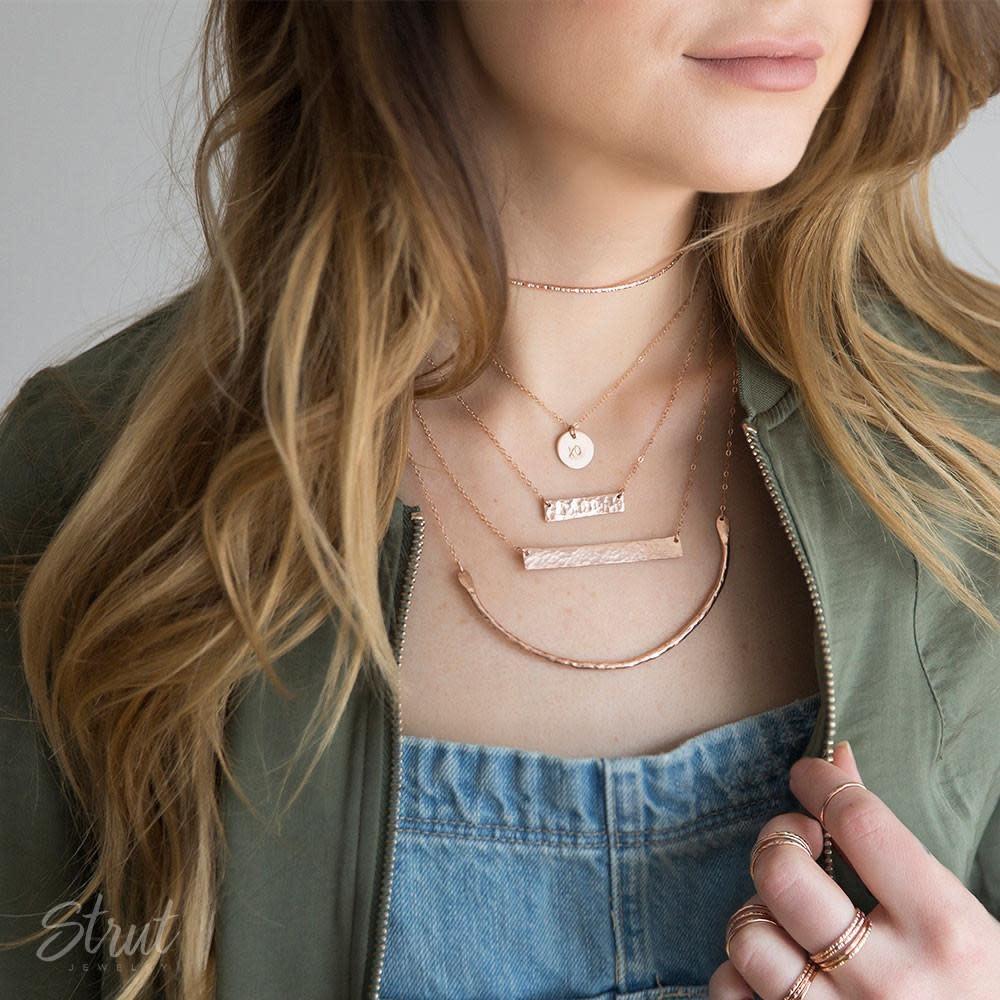 Strut Jewelry Strut-Wide Bar Necklace-Sterling Silver