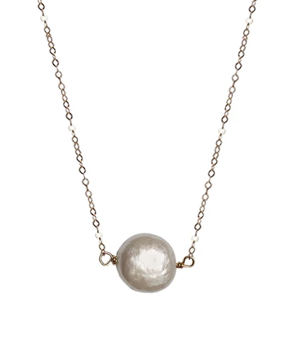 Strut Jewelry Strut-Pearl medallion necklace-ygf