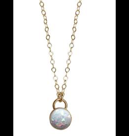 Strut Jewelry Strut-Bezel Set Opal Necklace-YGF