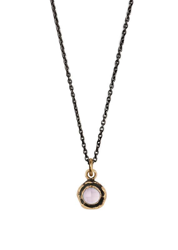Pyrrha Pyrrha-Faceted Stone Necklace-Rose Quartz-SM