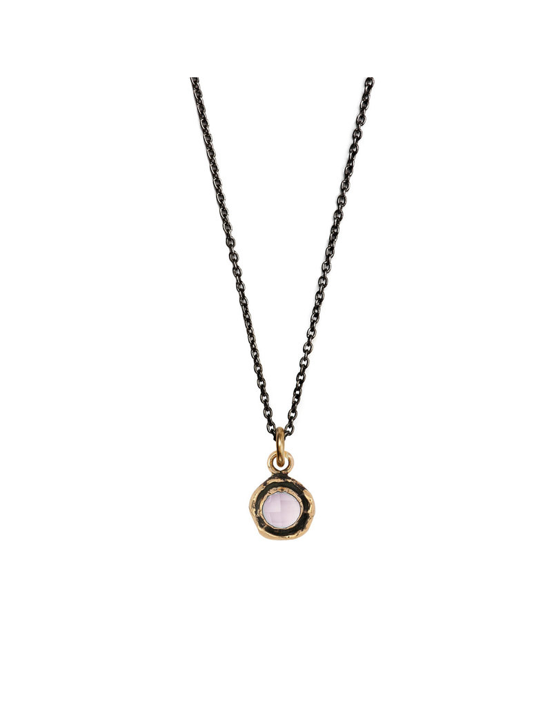 Pyrrha Pyrrha-Faceted Stone Necklace-Rose Quartz-SM