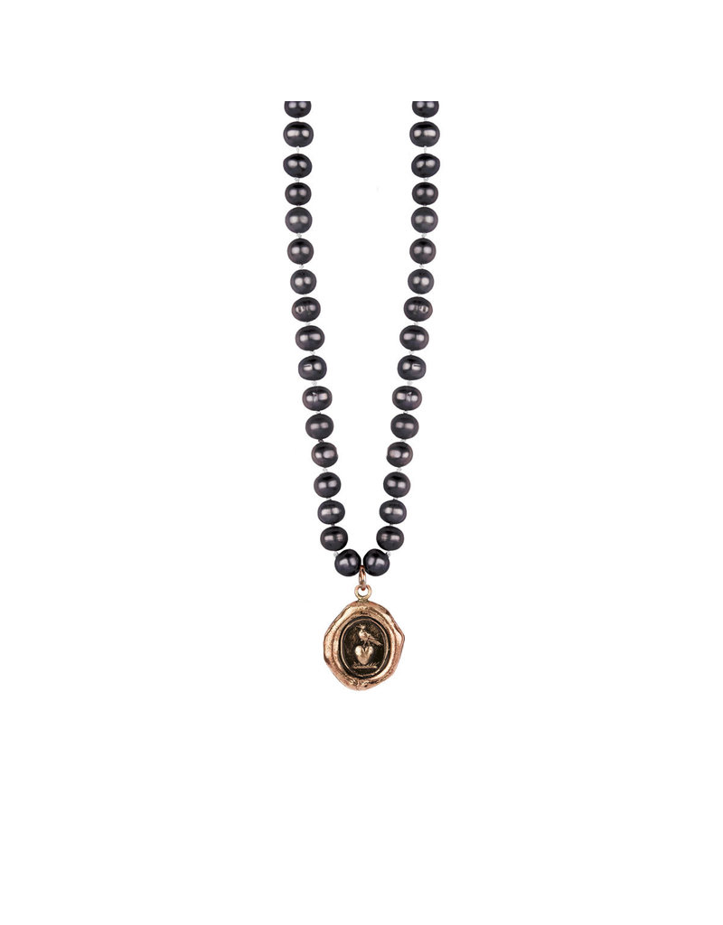 Pyrrha Pyrrha-Martlet & Heart Knotted Freshwater Pearl Necklace
