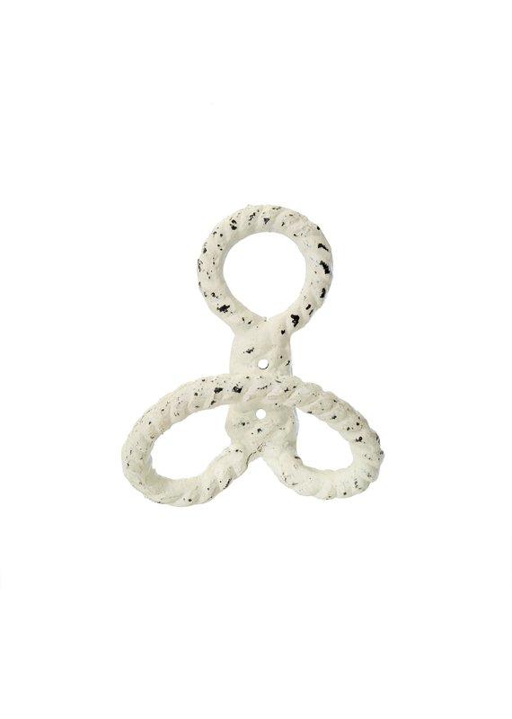 Indaba Trading Inc Nautical Knot Hook-White