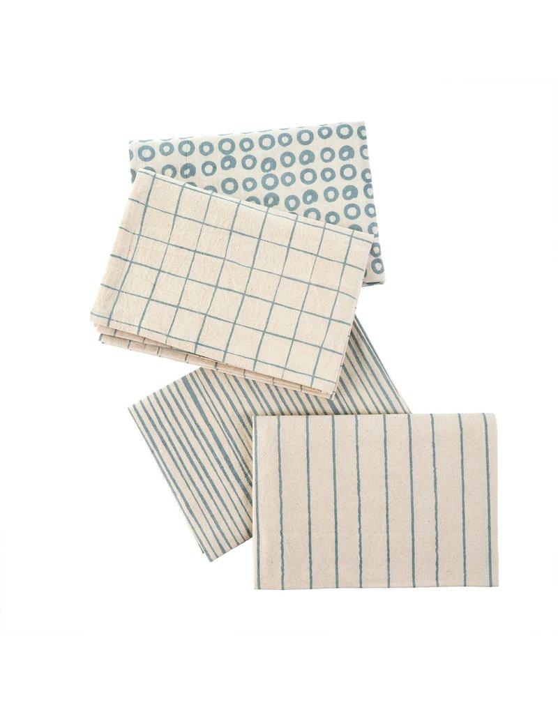 Indaba Trading Inc Dot & Doodle Tea Towels S/4-Blue