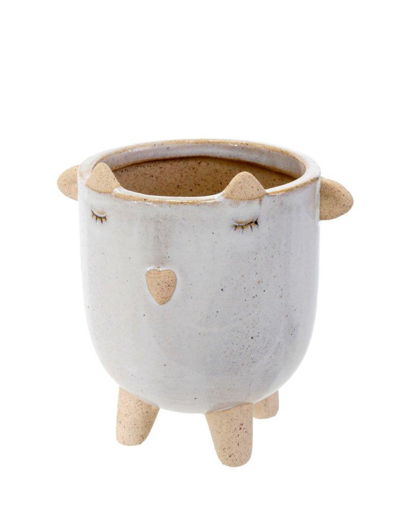 Indaba Trading Inc Little Lamb Pot-White