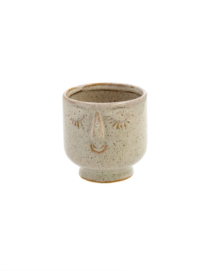 Indaba Trading Inc Friendly Face Pot-Small-Dune
