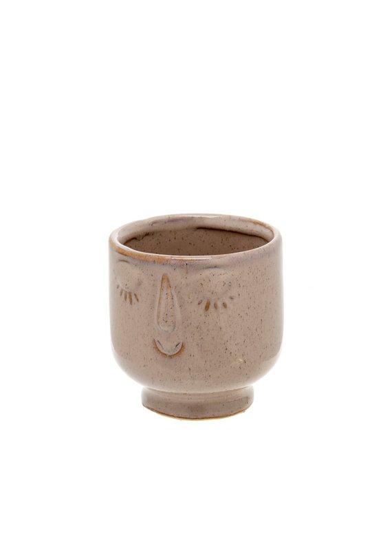 Indaba Trading Inc Friendly Face Pot-Small-Heather