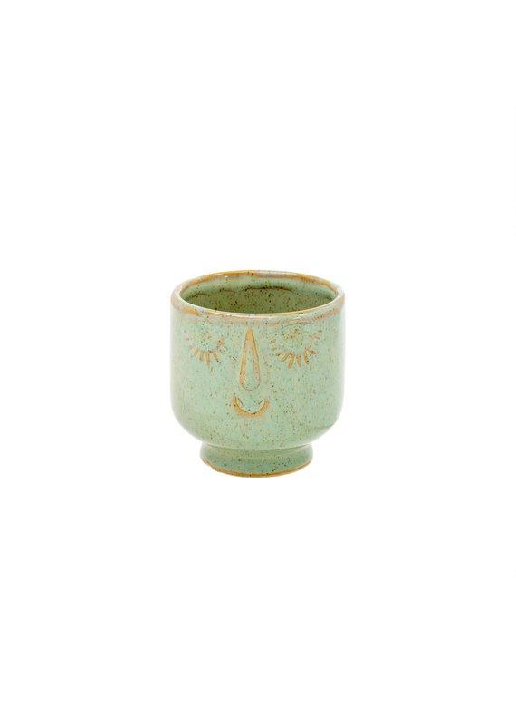 Indaba Trading Inc Friendly Face Pot-Small-Moss