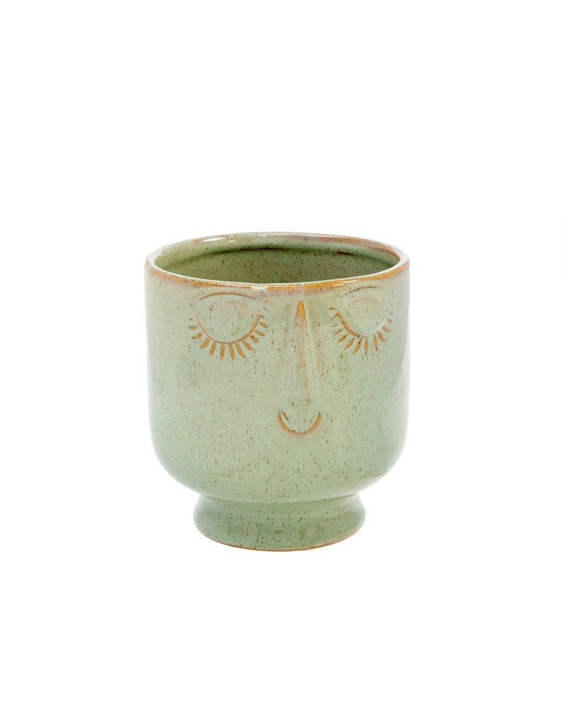 Indaba Trading Inc Friendly Face Pot-Large-Moss