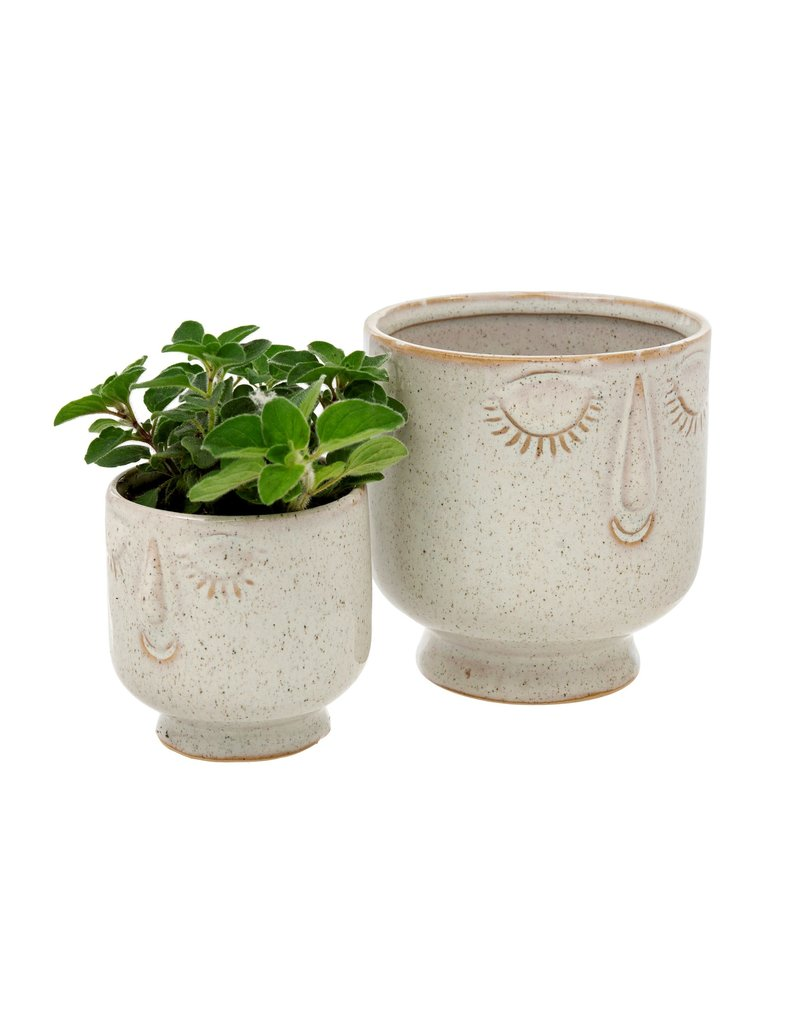Indaba Trading Inc Friendly Face Pot-Large-Dune