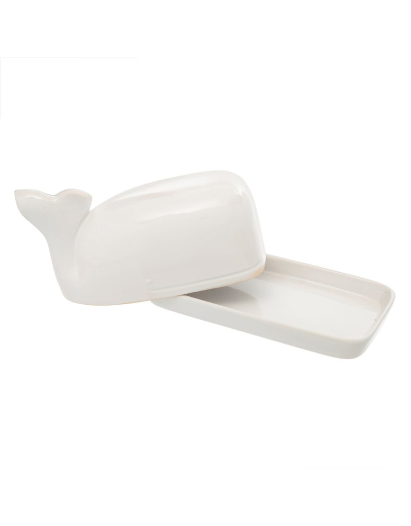 Indaba Trading Inc Wild Whale Butter Dish-White