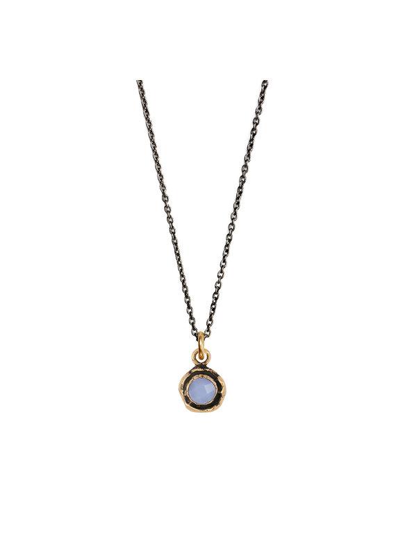 Pyrrha Pyrrha-Faceted Stone Necklace-Chalcedony-SM