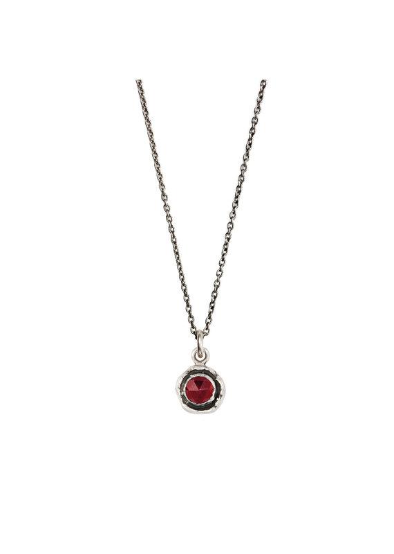 Pyrrha Pyrrha-Faceted Stone Necklace-Garnet-SM