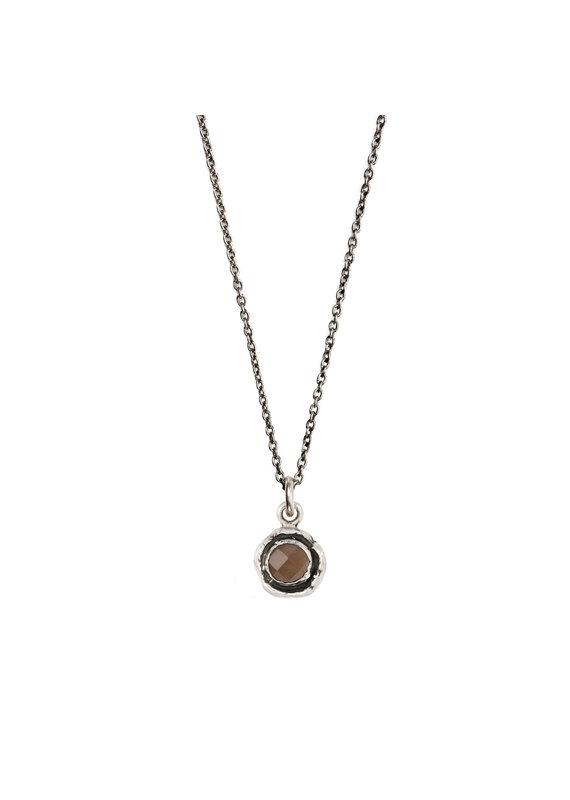Pyrrha Pyrrha-Faceted Stone Necklace-Smoky Quartz-SM