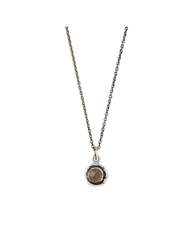 Pyrrha Pyrrha-Faceted Stone Necklace-Smoky Quartz-SM