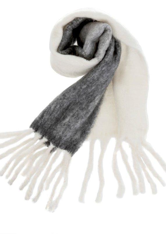 Indaba Trading Inc Fringed Blanket Scarf-Grey&White