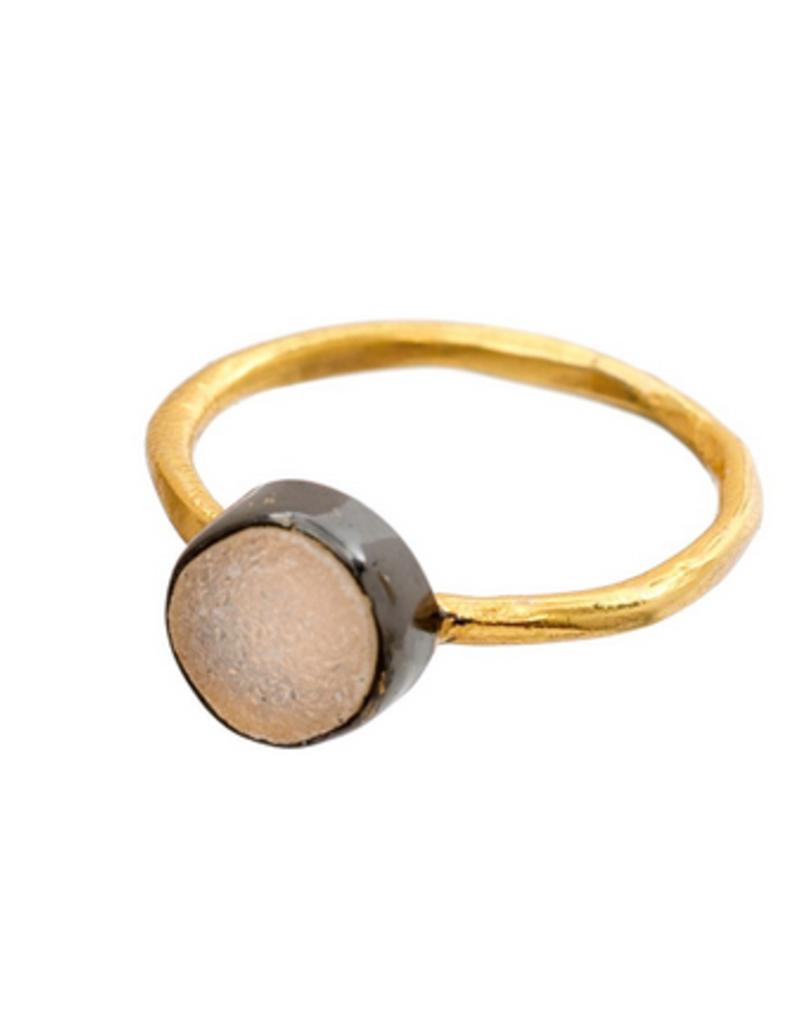 Indaba Trading Inc Stonegold Ring White Druzy-6