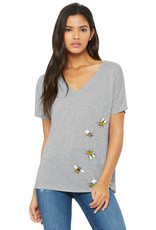 Pinpoint Ink-Bees Flowy V Neck-Grey