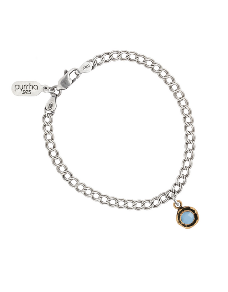 Pyrrha Pyrrha-Small Faceted Stone Talisman Chain Bracelet-Chalcedony