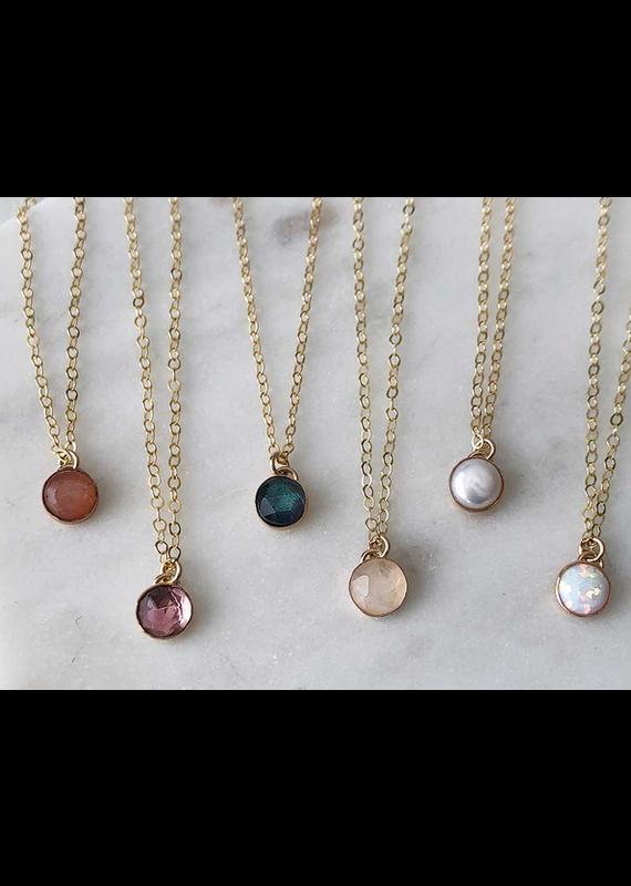 Strut Jewelry Petite Gemstone Necklace-Gold Fill