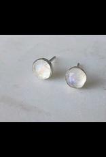 Strut Jewelry Gemstone Stud Earring-Rainbow Moonstone