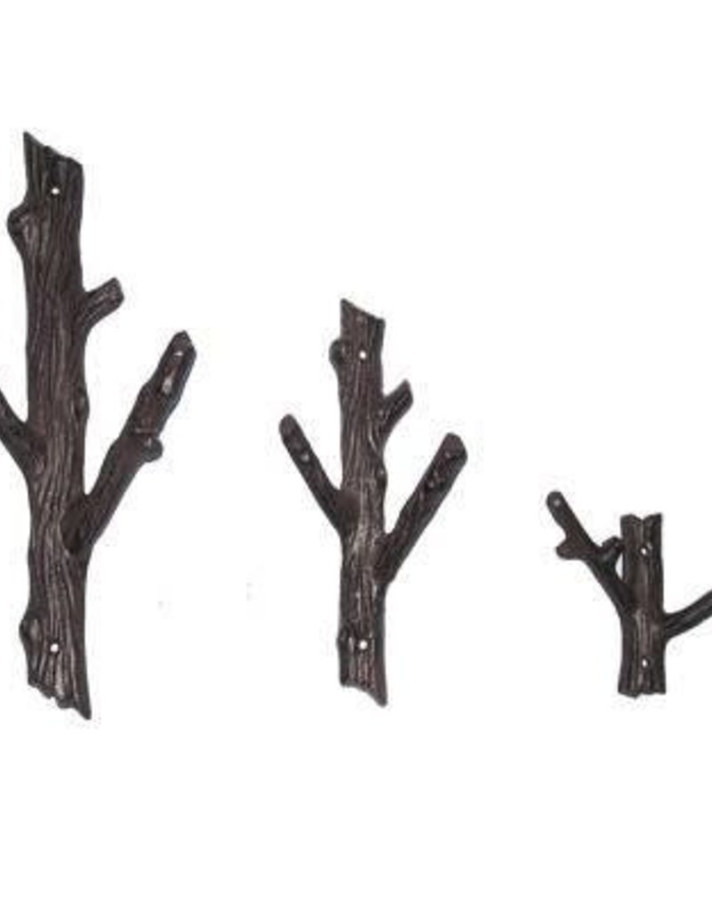 North American Country Home Large 2 Branch Hook- Black