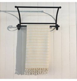 One Sky Inc. One Sky-Bamboo Hamam Towel- White/Yellow Lines