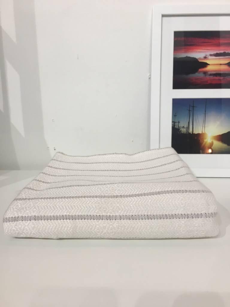 One Sky Inc. One Sky-Bamboo Hamam Body Towel- White/Grey Lines