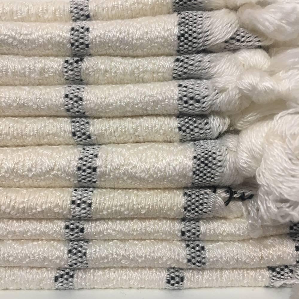 One Sky Inc. One Sky-Bamboo Hamam Face Towel- White/Black Lines